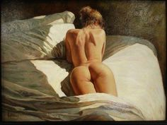 "Oil painting ""Backside of Nude on Bed"""