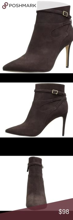"Nine West Tanesha Genuine Suede pointy toe Booties Very nice pair of Nine West Tanesha Dark Brown Pointy Toe Booties. Made of the finest genuine suede with 4"" heels!