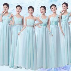 Light Blue Bridesmaid Dresses Floor Length Chiffon Girls Junior Bridesmaid Dress 6 Mixed Styles Bridemaid vestido de formatura