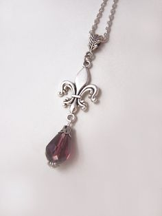 {Fleur de Lis} Fleur de lis necklace with purple crystal drop #FleurdeLis
