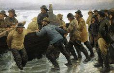 """Fishermen launching a rowing boat"" ""Fiskere i færd med at sætte rorsbåd i vandet"" (1881). By Michael Ancher (Skagen Painter, 1849-1927) [Skagens Museum, Skagen, Denmark.]"