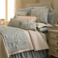 Bedroom Gray, Ankasa Sea Blue Bed Linens Pillow w/ Geometric Embroidery, 22 x 16 - traditional - bed pillows - - by Horchow Pretty Bedroom, Blue Bedroom, Cozy Bedroom, Bedroom Decor, Blue And Cream Bedroom, Bedroom Ideas, Master Bedroom, Serene Bedroom, Master Suite