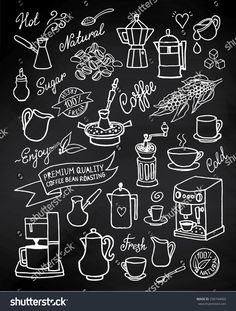 billige Wandkunst Hand drawn vector coffee set with coffee, ingredients and equipment for coffee mac Coffee Chalkboard, Blackboard Menu, Kitchen Chalkboard, Chalkboard Restaurant, Coffee Menu, Cafe Menu Boards, Mural Cafe, Coffee Doodle, Cafe Sign