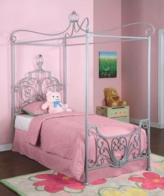Take a look at this Princess Rebecca Sparkle Silver Canopy Twin-Size Bed by Powell Company on #zulily today!