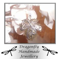 Steampunk Dragonfly on the Leaf pendant on by DragonflyHJewellery