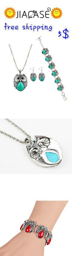 #Cute #Turquoise #Antique Silver #Owl Charm #Earrings #Bracelet #Pendant #Necklace Women #Jewelry Set