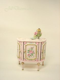 For Roberta - Pink French Cottage chic Roses Butterflies Accent Table commode - hand-painted - Jill Dianne  Dollhouse Miniature