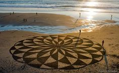 He uses a rake to create works of art that can be bigger than 100,000 sq. ft...