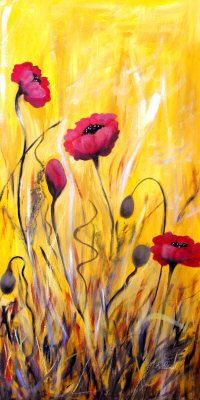 """For The Love Of Poppies                  Own the Original 18"""" x 36"""" Painting"""