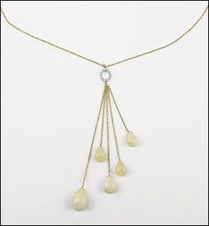 A DIAMOND, AGATE, AND 14 KARAT YELLOW GOLD NECKLACE. Lot 150-7288 #jewelry