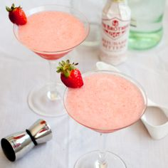 A refreshing, easy drinking strawberry-rhubarb cocktail, perfect for Spring!