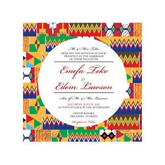 Colorful African Wedding Invitation and Save the Date representing Nigeria Ghana Togo Cote D'Ivoire more to come African Wedding Theme, Traditional Wedding Invitations, Traditional Weddings, Wedding Order, Gifts For Photographers, Reception Card, African Design, Card Sizes, Wedding Stationery