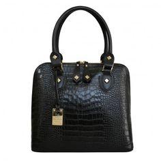 Designer Italian Calfskin Printed Croc Leather Tote Grab Bag black front