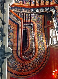 A staircase in the St. Pancras Renaissance London Hotel, from the top looking down. lσvє ♥ #bluedivagal, bluedivadesigns.wordpress.com