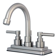 Kingston Brass KS8668EL Twin Lever Handle 4-Inch Lavatory Faucet, Satin Nickel - Price: $169.95 & FREE Shipping over $99     #kingstonbrass