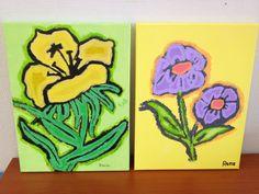 Bloemenschilderijtjes €12,50 per stuk
