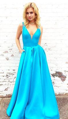 blue long prom dress, 2018 prom dress, prom dress with pockets, simply spring prom dress, evening dress