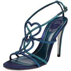 Rene Caovilla Blue and Green Crystal Hearts Sandal  with <3 from JDzigner www.jdzigner.com