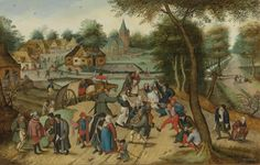 Pieter Brueghel the Younger : The Return of the Fair (Private collection) 1564-1636.