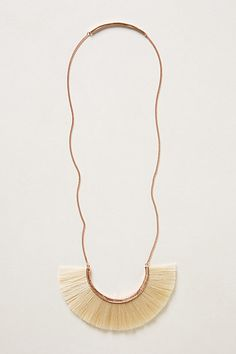 """Wayfaring Necklace - Norwegian artist Bjorg Nordli-Mathisen began making jewelry while living in India, one of the various corners of the world she draws inspiration from. Although others will admire this striking 18K gold necklace's fanned horsehair bib, the real treat is just for you: The back of the chain features a small tab engraved with the phrase """"not all who wander are lost.""""  #anthropologie"""