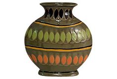 One Kings Lane - Into the Wild - Wide Tribal Vase, Large