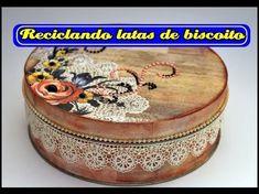 DECOUPAGE EM LATAS DE BISCOITO ❤ - CURSO DE ARTESANATO BELLA ART'S - YouTube