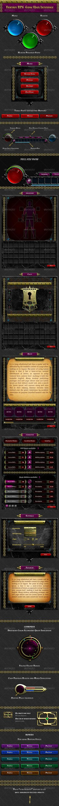 Fantasy RPG Game UI buttons, character, checkbox, chest, compass, dropdown, game, gold, health meter, inventory, item slots, magic, mana, medieval, mmorpg, old metal, pattern, rpg, stamina, ui, user interface, Fantasy RPG Game UI
