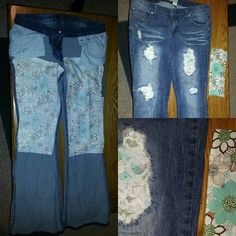 Patched jeans with lace (2nd edition). The first time I did this I just cut out enough lace to cover the hole from the inside. Not only did the lace feel uncomfortable against skin, but I didn't take into account how the holes are a little larger when the jeans are being worn. So this time I cut larger pieces of lace and lined the inside with them. I used peel and stick double-sided adhesive so I didn't have to iron or sew. Then I placed a soft fabric (shown on bottom right) over the lace…
