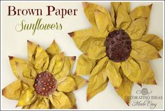 DIY brown paper flowers from Jenniferdecorates.com                                                                                                                                                                                 More