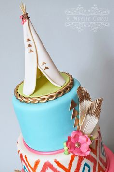 Bohemian theme with Teepee Cake By K Noelle Cakes