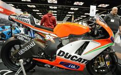 Ridden by Nicky Hayden of Ducati Team is the MotoGp Class Ducati Desmosedici GP13. MotoGp Bikes as seen at the Indianapolis Motorcycle Show and Dealer Expo in February 2013.