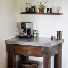 Make a coffee bar from concrete and reclaimed wood.