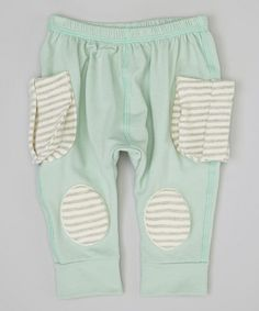 Take a look at this Mint & Gray Stripe Squeaker Harem Pants by Squeeky Knees on #zulily today!