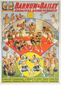 Barnum Bailey Circus Poster 1912 Japanese Strongmen Attraction Beautiful | eBay