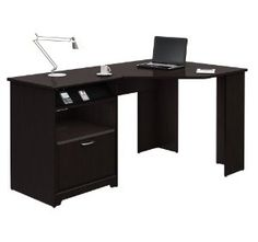 Elegance that's comfortable in any office also works smartly at home. This L-Shaped Corner Computer Desk with File Drawer in Espresso Wood Finish offers ample storage and smart technology integration to make it perfect fit anywhere. This Desk off. Bureau Design, Design Desk, Study Design, Home Office Desks, Home Office Furniture, Furniture Ideas, Wooden Furniture, Bedroom Office, Kitchen Furniture