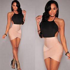 Sexy backless irregular dress  VMIRQ