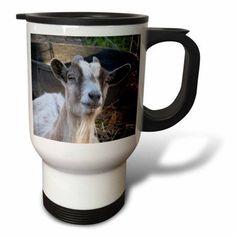 3dRose Grey and white goat, Travel Mug, 14oz, Stainless Steel