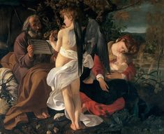 Michelangelo Merisi da Caravaggio Rest on the Flight into Egypt (c. is a painting by the Italian Baroque master Michelangelo Merisi da Caravaggio, in the Doria Pamphilj Gallery, Rome. Baroque Painting, Baroque Art, Italian Baroque, Italian Painters, Italian Artist, Michelangelo Caravaggio, Flights To Egypt, Renaissance Kunst, Renaissance Artworks