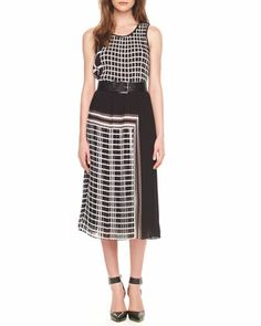 Mixed-Print Pleated Dress by MICHAEL Michael Kors.  Love this with a wide brimmed had