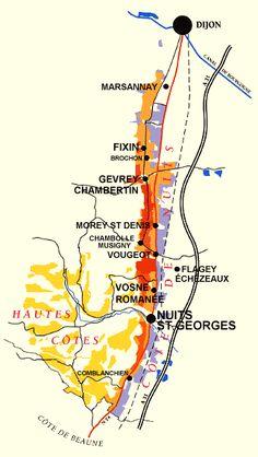 Côte de Nuits wine region map