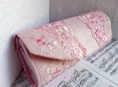Baby pink clutch purse with lace silk