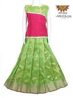 Items similar to Pattu Pavadai on Etsy Frocks For Girls, Kids Frocks, Dresses Kids Girl, Kids Outfits, Kids Pattu Pavadai, Pavadai Sattai, Girls Frock Design, Kids Blouse Designs, Frock Patterns