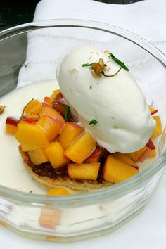 NYT Cooking: Macerated Peaches With Chamomile Ice Milk and Brioche