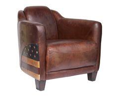 Чудесное мягкое кожаное кресло. У кресла очень интересный дизайн - сбоку Вы обнаружите вставку с американским флагом.             Метки: Кресла для дома, Кресло для отдыха.              Материал: Дерево, Кожа натуральная.              Бренд: American Interiors.              Стили: Лофт.              Цвета: Темно-коричневый.