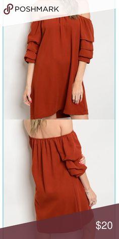 "🔥 Boutique Dress Off the shoulder beauty! Great for summer! Rusty orange in color. 🍊  Fabric Content: 100% POLYESTER Size Scale: S/M -M/L (2) S/M , (3)M/L  Description: L: 32"" B: 40"" W: 40"" Dresses Strapless"