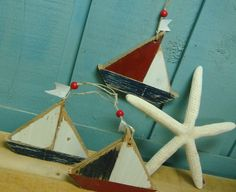 Nautical Sailboat Ornaments Shabby Chic Christmas Sign Weathered Beach House Sailboat - Set of Three. $18.00, via Etsy.