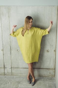 Linen Dress Motumo 14S8  Loose linen dress with by MotumoLinen