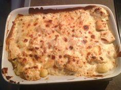 gnocchi, aiguillette de poulet, oignon, crème fraîche, lait, parmesan
