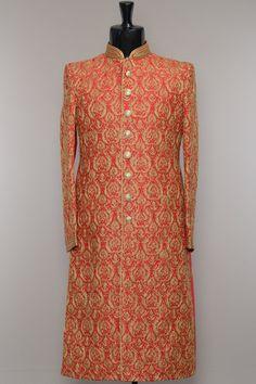 Lava Red Raw Silk Dori Embroidered Wedding Sherwani-SH453 Wedding Dress Men, Wedding Groom, Prince Suit, Mens Ethnic Wear, Kurta Men, Indian Groom Wear, Wedding Sherwani, Groom Outfit, Indian Outfits