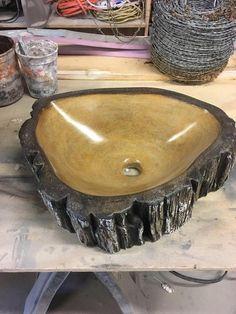 Petrified Wood Concrete Sink Modern Rustic Decor Concrete | Etsy Wood Sink, Concrete Sink, Concrete Wood, Modern Rustic Decor, Rustic Wood, Log Home Interiors, Log Furniture, Western Furniture, Furniture Design